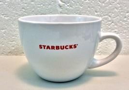 Starbucks Large Latte cappucino Coffee Mug Cup 18 oz White Red Logo 2008 - $7.43
