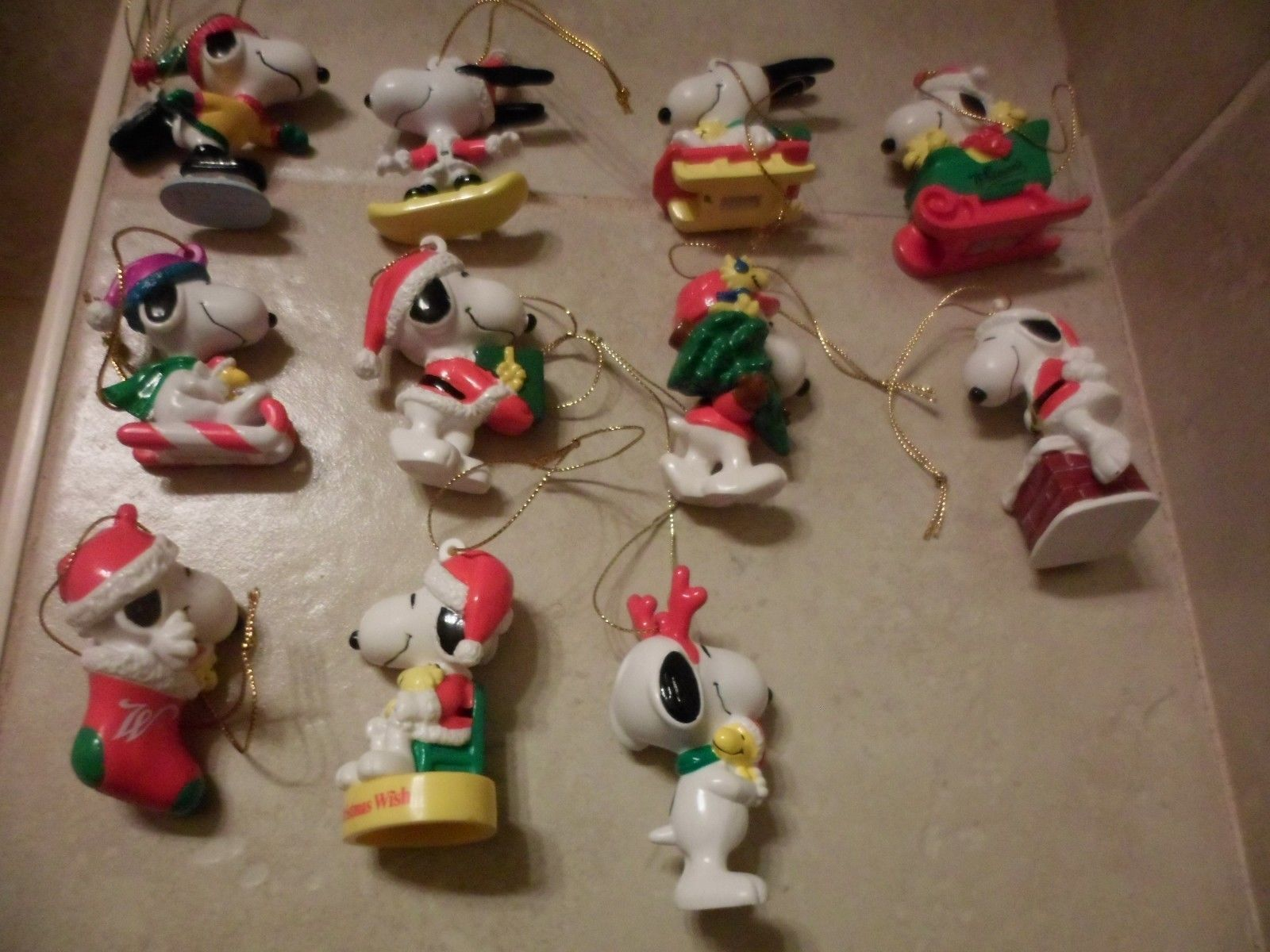 11 PVC PEANUTS SNOOPY CHRISTMAS TREE ORNAMENTS EACH