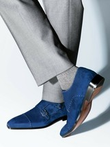 Handmade Men's Navy Blue Two Tone Monk Strap Double Buckle Suede Shoes image 2