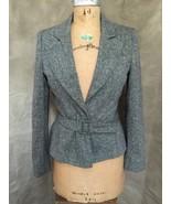 Gray Womens TWEED BLAZER JACKET Buckle LOW PLUNGE France PEPLUM US 8 M K... - $72.44