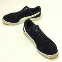 Puma Smash Youth Black White Suede Athletic Comfort Walking Sneakers Siz... - $54.75
