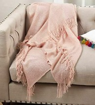 "SARO LIFESTYLE Sevan Collection Throw Blanket,50"" x 60"" Pink -store new with tag image 2"