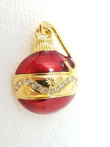 Vintage Gold Red Colored Glass Band Round Christmas Ornament Pin - $16.10