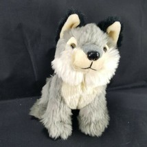 Wildlife Artists plush wolf Tan gray Sitting down wild animal Plush stuf... - $14.84