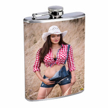 Farmers Daughter Pin Up Girl D2 Flask 8oz Stainless Steel Hip Drinking Whiskey - $12.82