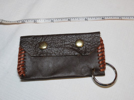 Handmade leather coin purse pebbled snap flap close pouch key ring espre... - $16.33