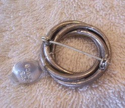 a Antique Silver 'Circles' Pin Rare Vintage Mexico Jewelry Women Clothing - $10.70