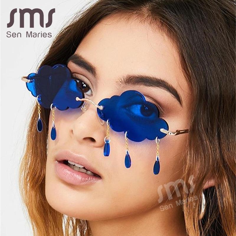 Es women 2020 vintage clouds tassel steampunk sunglasses men frameless punk glasses shades uv400