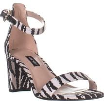 Nine West Pruce7 Block Heel Sandals, White Multi Fabric, 7.5 US - $32.63