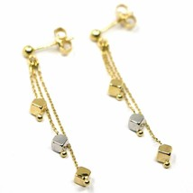 18K YELLOW WHITE GOLD PENDANT EARRINGS, THREE WIRES, SMALL CUBES, 4 cm  image 2