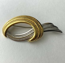 Monet Mixed Metal Abstract Brooch Pin Vintage Silver Gold Tone Signed Open - $12.58