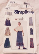 1989 Simplicity Sewing Pattern 8458 Artworks Size 12-14-16 Skirt Uncut - $5.45