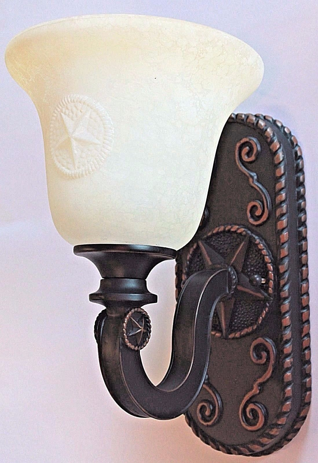 Texas Star Bronze Sconce Rustic Glass Country Primitive Bathroom Wall Light