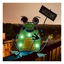"""12"""" LED Solar Metal Frog - Holding a Welcome Sign - Home and Garden Decor Green image 2"""