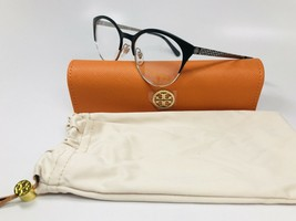 New Tory Burch TY 1041 3050 Black & Silver Eyeglasses 50mm with Case & Bag - $125.73