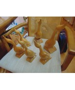 """6 Carved Wood Ducks With Eyes-Beaks-Feathers Carved Out 4-10"""" Tall-2-13""""... - $7.99"""