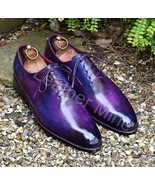 Men's Handmade Whole Cut Oxfords Purple Patina Dress Custom Made Shoes F... - $159.99+