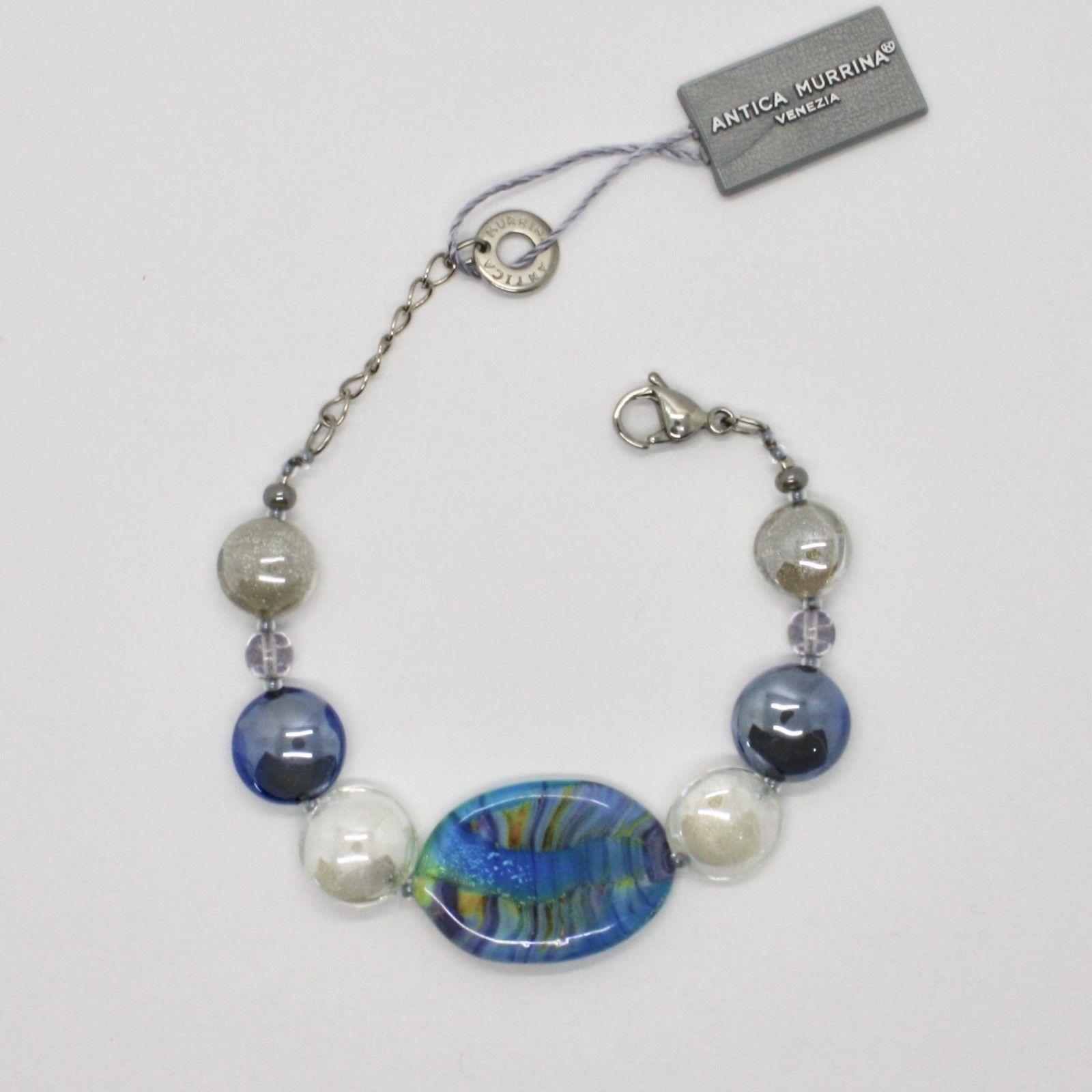 ANTICA MURRINA VENEZIA BRACELET WITH MURANO GLASS BLUE BEIGE WHITE BR794A07