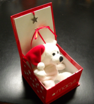 Christmas Bear Macy's Snuggie White Bear in a Box with Lid Magnetic Star... - $7.99