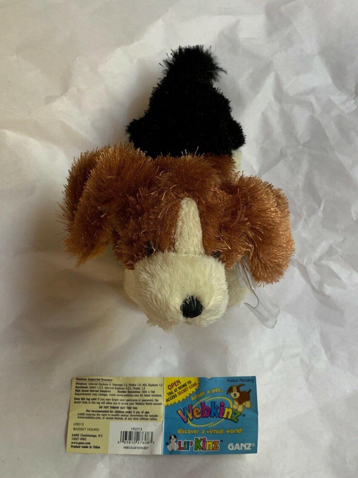 Ganz Webkinz Shaggy Brown White Basset Hound Puppy Dog Stuffed Plush Animal 9in image 2