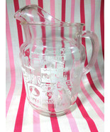 Fabulous Mid Century Glass Pitcher Travel Graphics Holland • Britain • J... - $18.00