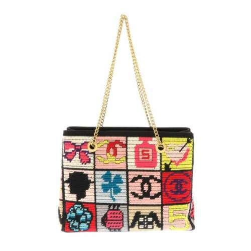 CHANEL Icon Chain Shoulder Bag Leather Knit Black Multi Color CC Logo Authentic image 3