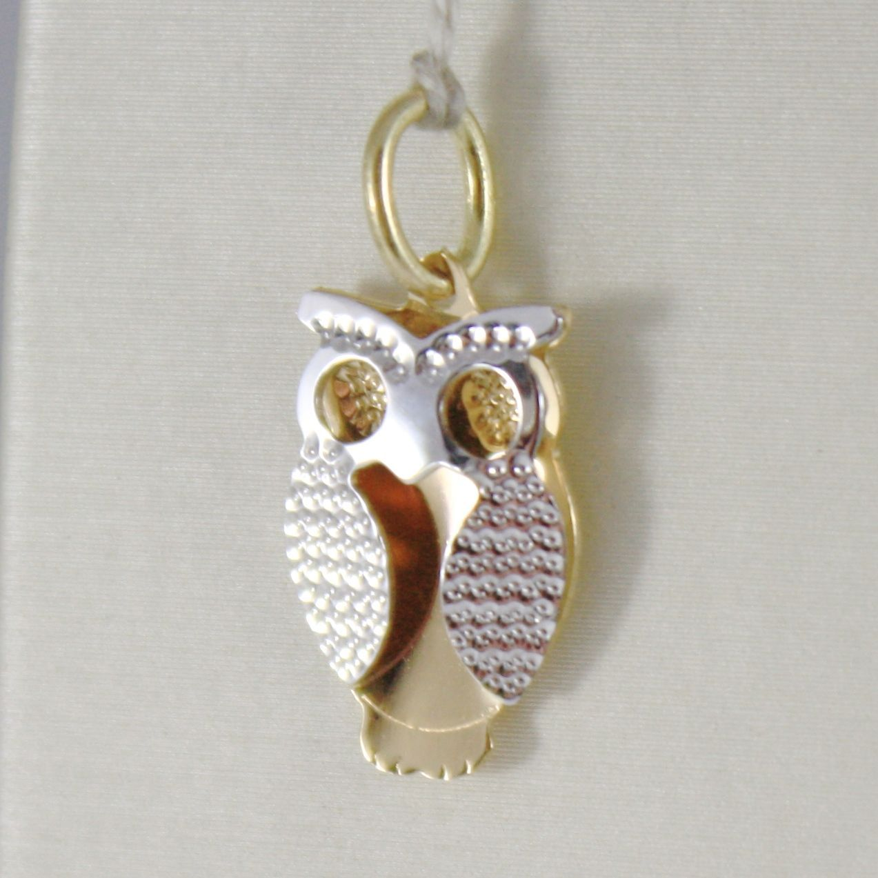 18K YELLOW & WHITE GOLD PENDANT CHARM, LUCKY OWL, FINELY WORKED, MADE IN ITALY