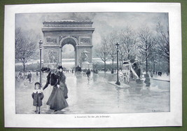 PARIS Rainy Day ARch Arc de Triomphe - VICTORIAN Era Print - $16.20