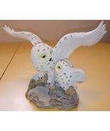 White Snowy Artic Owl Figurine Flight Rock Mama Baby Resin - $24.74