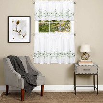 Trellis Scrolling Leaf Pattern Kitchen Window Curtain Tiers or Valance Green - $13.59+