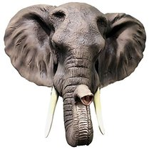 Large Majestic Safari Pachyderm Male Tusked Elephant Hanging Wall Decor ... - $78.70