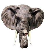 Large Majestic Safari Pachyderm Male Tusked Elephant Hanging Wall Decor Sculptur - $78.70