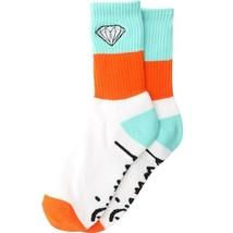1 Neu Paar Diamond Supply Co Groß Streifen Emblem Socken ( Weiß/Blau / Orange)