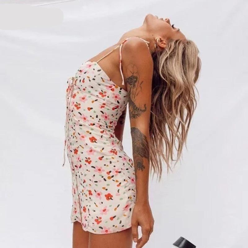Yojoceli new spring summer floral print sundress women button front mini dress