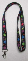 Black with Multi Color STARS LANYARD KEY CHAIN Ring Keychain ID Holder NEW - $9.99