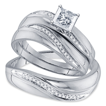 His Her Wedding Engagement Trio Ring Set 14k White Gold Finish 925 Solid Silver - $128.13