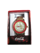 Coca-Cola  Accutime Red Crystal Bevel Watch 42 mm Gold-tone- BRAND NEW - $9.65