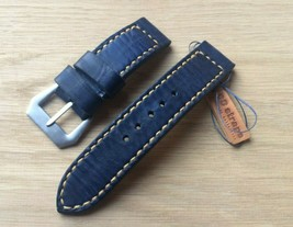 Handmade 24mm denim blue Italian leather watch strap GPF buckle fits Pan... - $85.00