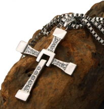 18K White Gold Plated Cross Necklace with Swarovski Crystals - $7.91