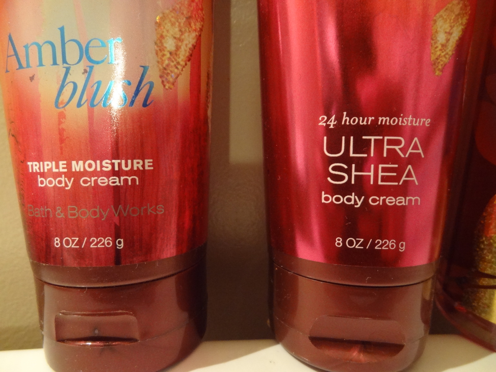 BATH & BODY WORKS SET OF 3 AMBER BLUSH  FRAGRANCE MIST BODY CREAM ULTRA SHEA NEW