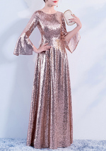 Long Sleeve Rose-Gold Maxi Sequin Dress Women Maxi Sequined Evening Wedding Gown image 8