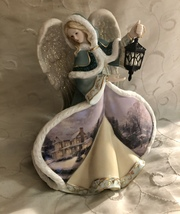 Thomas Kinkade Winter Angel Of Joy Illuminated Figurine - $94.95