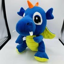 "Goffa Blue Yellow Dragon Plush Wings Orange Spikes Teeth Fangs 13"" Tall ... - $13.85"