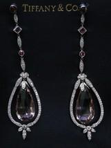 Tiffany & Co Platinum Morganite Pink Tourmaline Diamond Drop Earrings 32.76CT - $18,760.50