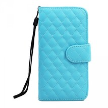 iPhone 6 4.7 Quilted Flip PU Leather Wallet Case with Strap (Blue) - $10.00