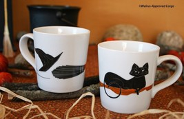 CRATE & BARREL BLACK CAT ESPRESSO MUGS (2) -NWT- MAKE A COOL,SWEEPING ST... - $22.46