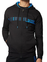 Hugo Boss Hooded Loungewear Jacket In Cotton Terry With Geometric Pattern image 1