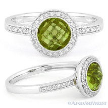 1.49ct Checkerboard Peridot Round Cut Diamond Halo Setting 14k White Gol... - €453,90 EUR