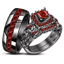 14k Black Gold Plated 925 Silver Princess Cut Red Garnet His & Her Trio Ring Set - $176.50