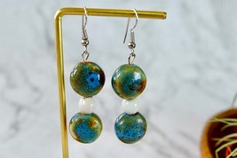Blue and Green Ceramic Dangle Earrings, Handmade Vintage ceramic Jewelry  - $8.59
